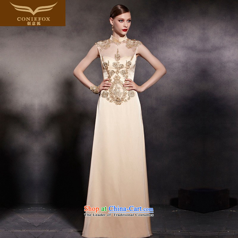 The kitsune dress creative new gold cheongsam dress evening drink served to dress annual meeting of nostalgia for the chairmanship of the show welcome service 81898 dress photo color?M