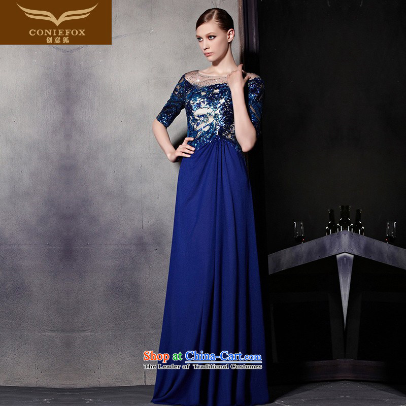 Creative Fox evening dress blue light and stylish dress is banquet to dress evening performances under the auspices of dress bows service long red carpet dress 81895 color picture�S
