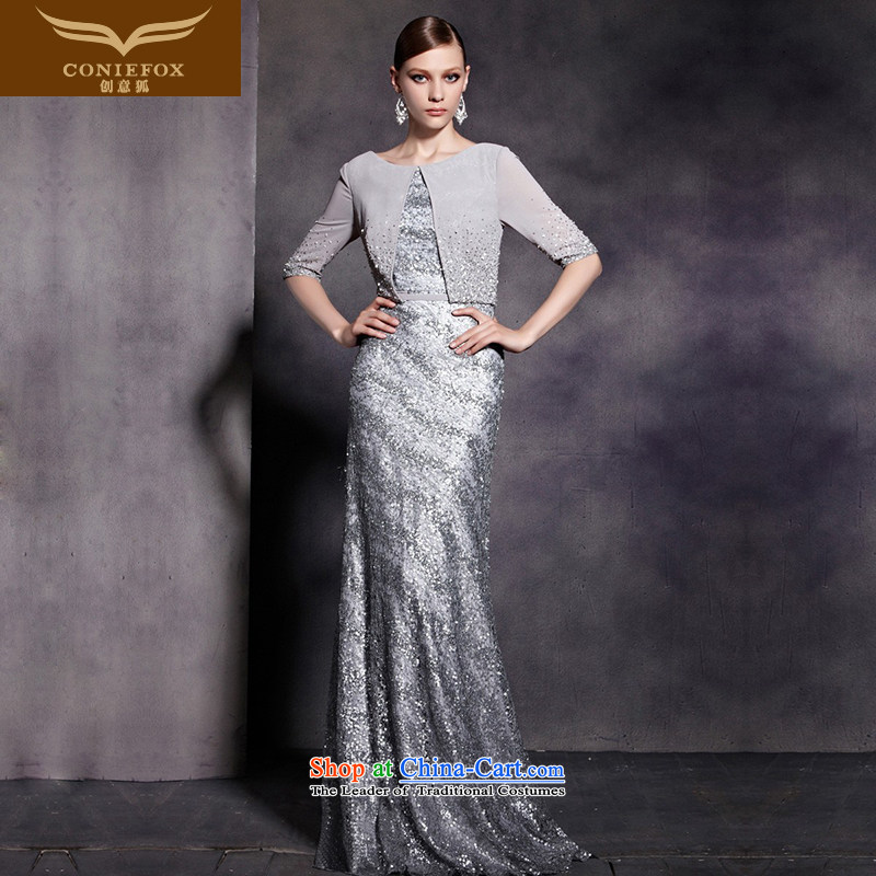 The kitsune dress creative new annual meeting under the auspices of dress and stylish shawl on chip banquet evening dresses silver tail evening performances dress long 81880?S Silver Gray