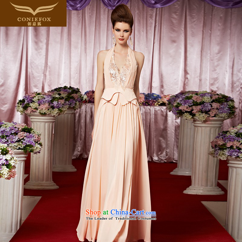 The kitsune dress creative new banquet dinner dress deep V-history and sexy dress exhibition pink dresses bride wedding dress hospitality services 30369 picture color�S