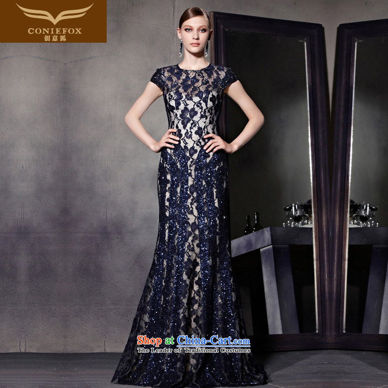 The kitsune evening dresses spring creative new irrepressible lace evening dress blue dress package shoulder banquet red carpet dress suit will preside over 81869 picture color?M