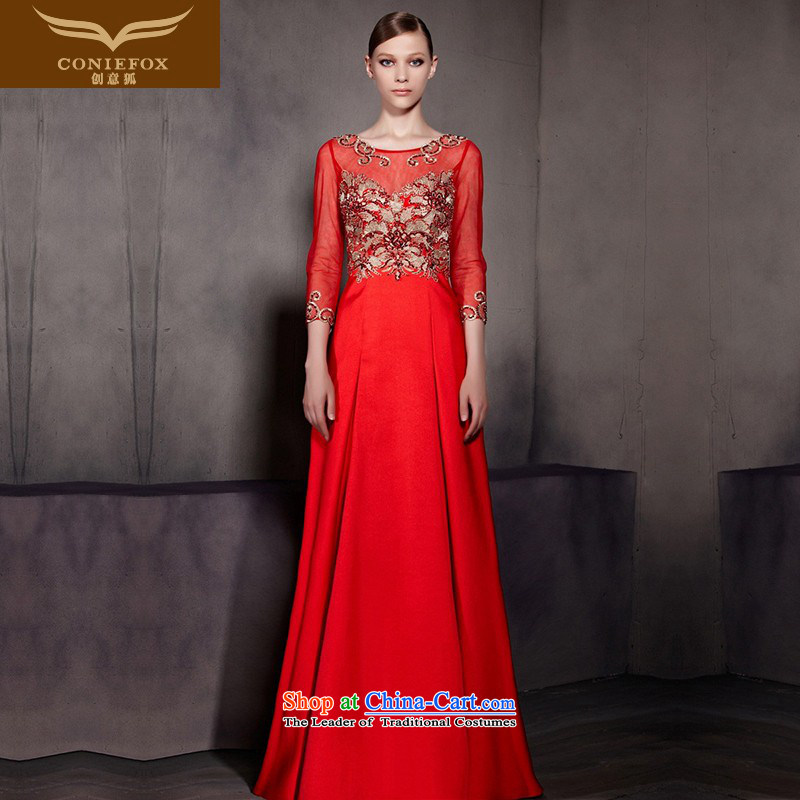 The kitsune dress creative new red bows dress stylish 7 marriage-sleeved gown bride bridesmaid long skirt welcome to dress uniform color picture 81868?M
