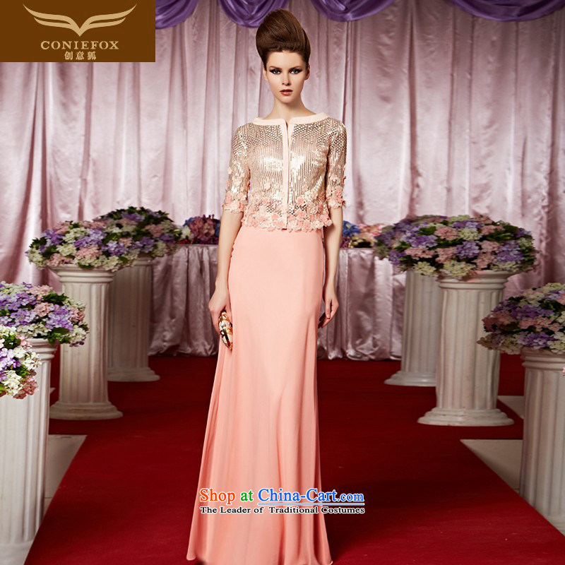 Creative Fox evening dresses evening banquet bridesmaid wedding services welcome service light pink tab to wedding dress long auspices evening dresses long skirt 30386 picture color?L