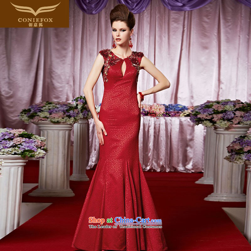 Creative Fox evening dresses red foutune crowsfoot bridal dresses marriage bows evening dress Sau San long skirt long gown hospitality services to 30388 color picture?XXL