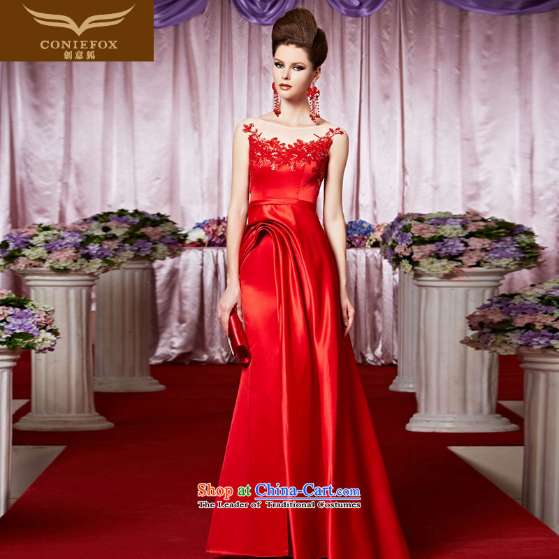 The kitsune evening dresses brides creative bows dress red shoulders tail to dress marriage Foutune of dress skirt welcome banquet service 30395 picture color?XL