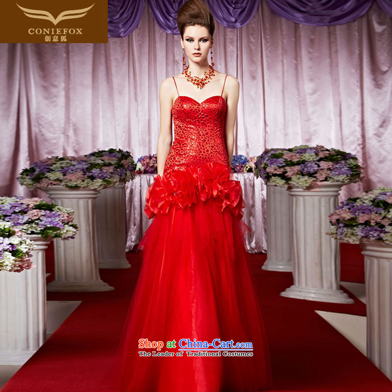 Creative Fox evening dresses and chest strap with red bride wedding dress Top Loin of tail wedding dresses welcome service bows and noble bride 30503 color photo of marriage聽M