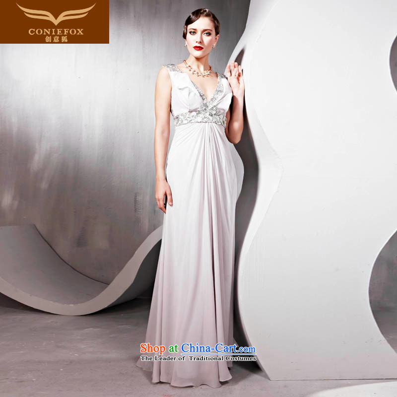 Creative Fox evening dresses bridesmaid dress bride with a drink service banquet hosted marriage dress skirts and sexy shoulders V-Neck long concert hospitality services 56818 White聽M