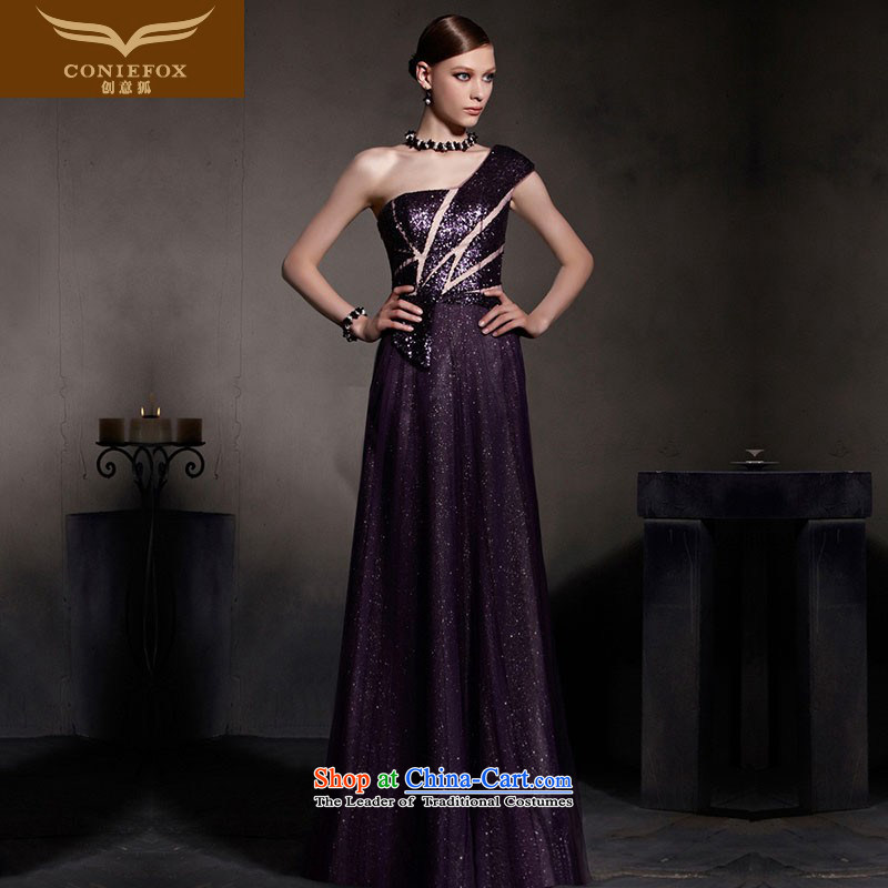 The kitsune dress creative new dream purple evening dress shoulder to dress evening drink service high waist video thin dress suit skirt 30515 under the auspices of picture color XL
