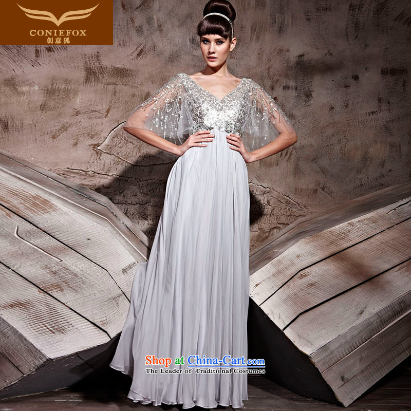Creative Fox evening dresses�V-Neck long evening dresses and bows bridesmaid dress dress uniform sit back and relax in one of the annual meetings of the chairpersons dress long skirt 81018�M Gray