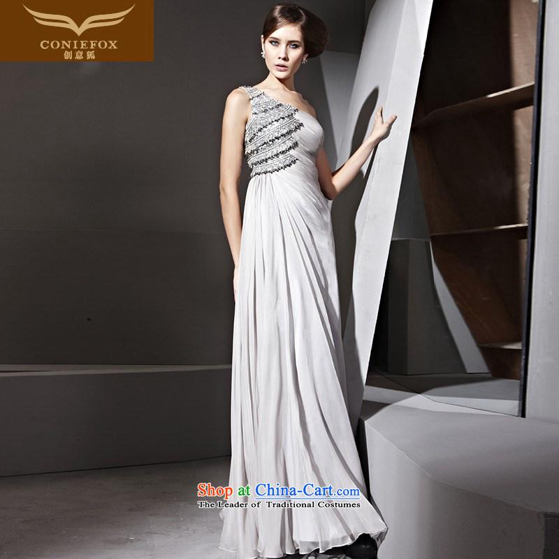 Creative Fox evening dress stylish Beveled Shoulder nail pearl diamond banquet dinner dress gray dress of Sau San to dress skirt?81021 under the auspices of dress?gray?XL