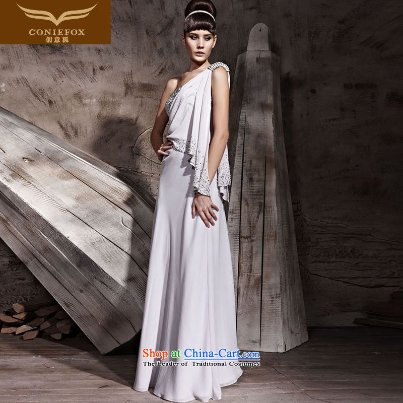 Creative Fox evening dresses and sexy elegant banquet dress shoulder will western dress evening drink service wedding dress skirt welcome service 81023 Silver Gray?L