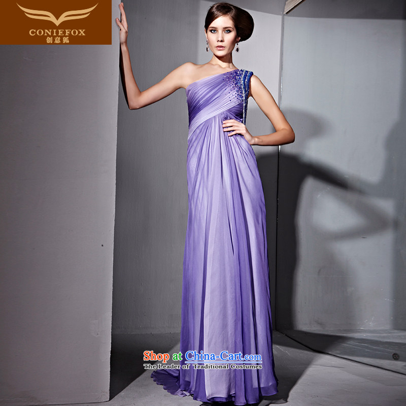 Creative Fox evening dresses and sexy Beveled Shoulder high waist video thin evening dresses gradient purple bows dress annual will preside over a welcoming service dress 81025 purple聽XL