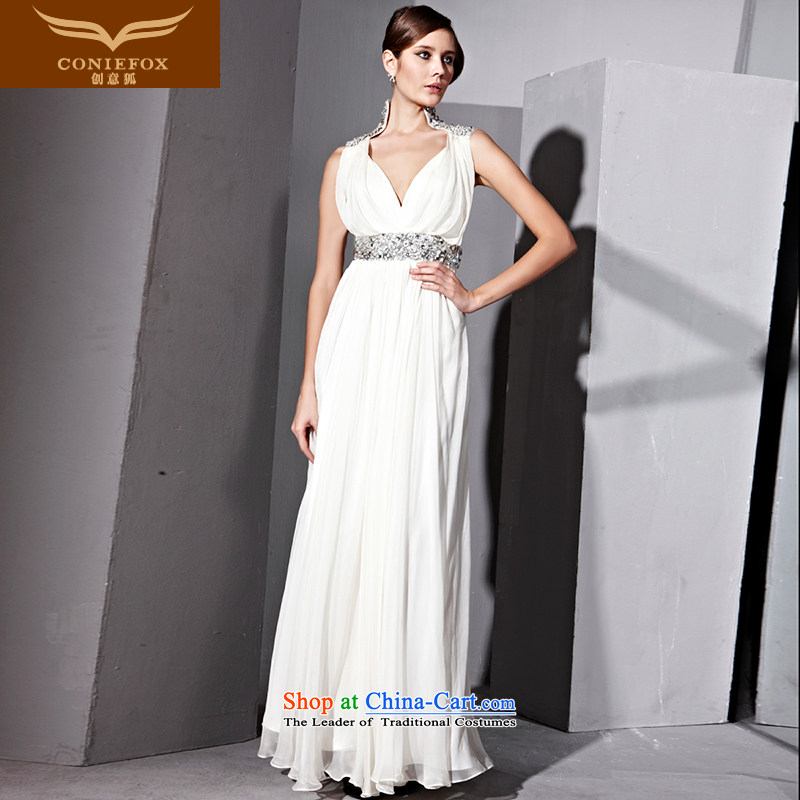 Creative Fox evening dresses?V-Neck long evening dress wedding dress sit back and relax in one of the Banquet white dress annual meeting under the auspices of dress long skirt?81029?White?XL
