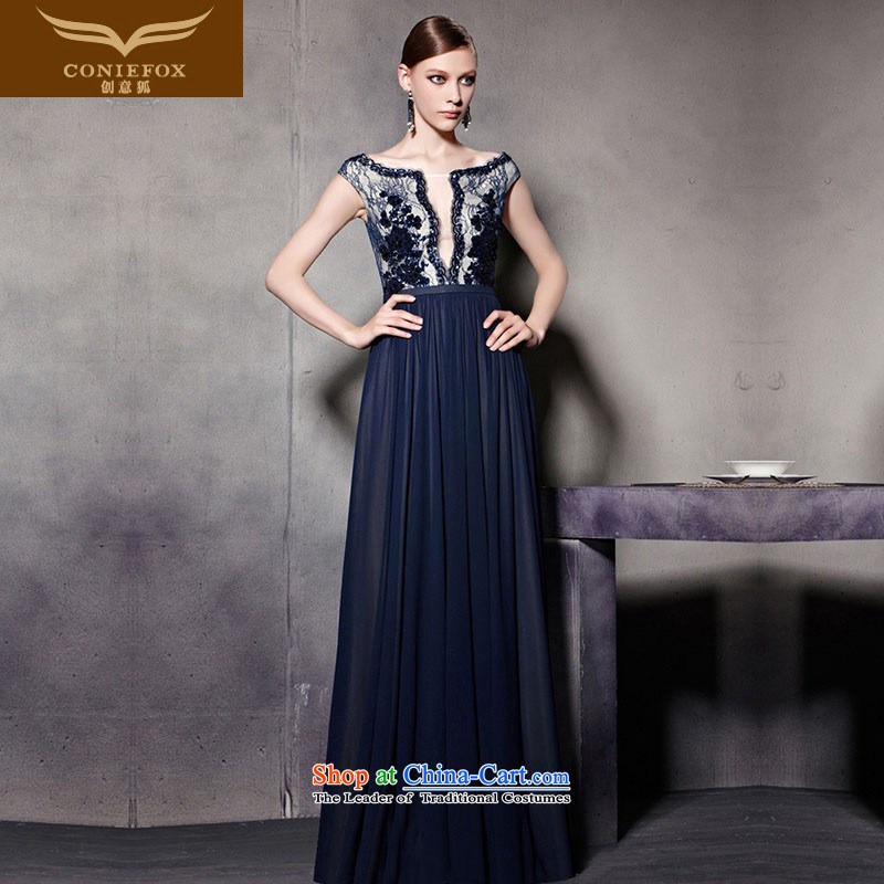 Creative Fox evening dress blue-chip on the shoulders of flowers evening dresses evening drink services shoulder to dress performances conducted dress uniform color pictures courtesy 30525�S