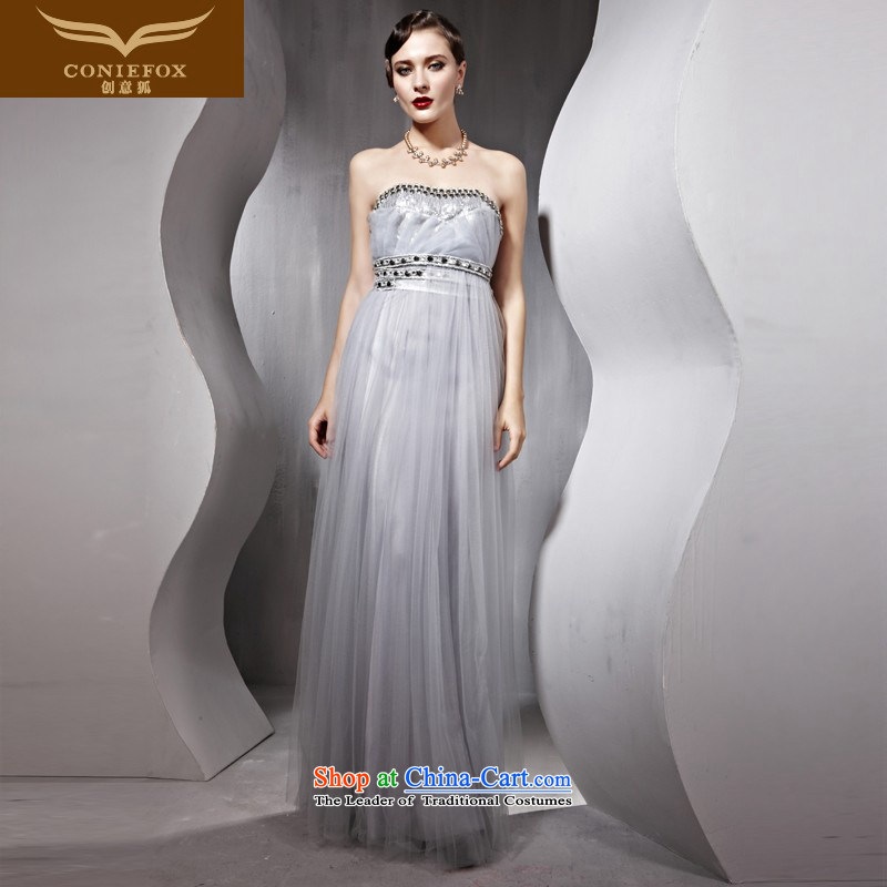 Creative Fox evening dresses marriages bows dress wiping the chest long banquet evening dresses long skirt Fashion nail pearl bridesmaid services under the auspices of dress winter 56832 Light Gray L