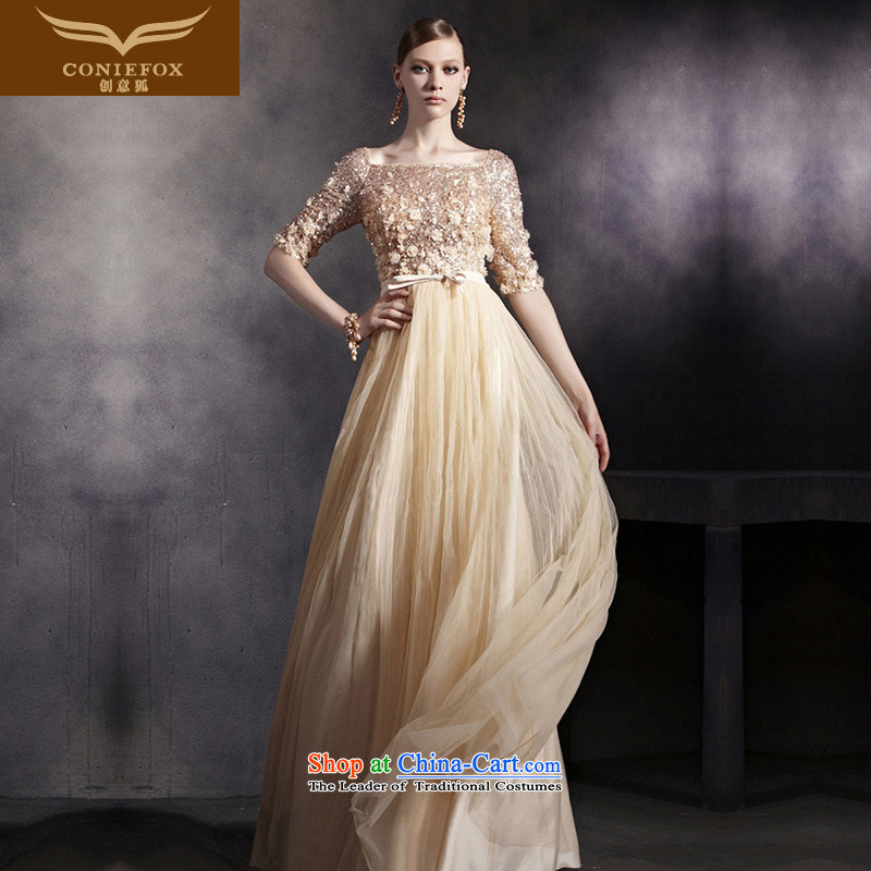 Creative Fox evening dresses sleek gold nail pearl performances dress bride wedding dress evening drink service wedding dresses welcome service moderator 30532 picture color聽XXL