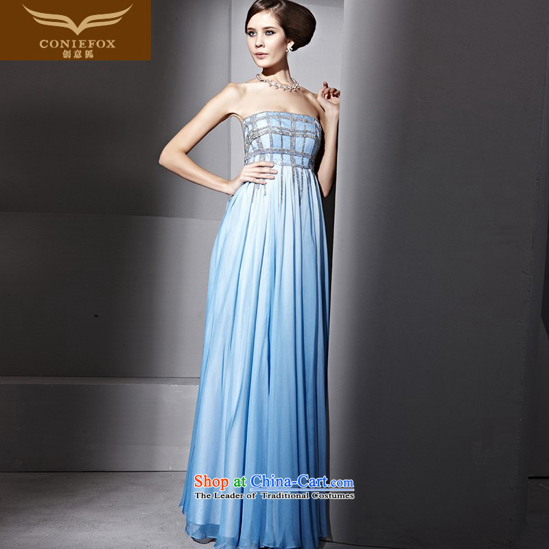 Creative Fox evening dresses and chest blue noble banquet evening dresses on-chip beads nail stylish evening dress annual meeting presided over?81035 will dress?blue?XL