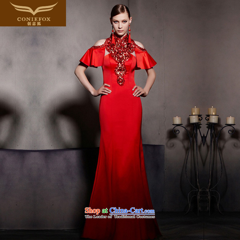 The kitsune dress creative new red wedding dress cheongsam dress crowsfoot bride toasting champagne evening dress presided over a welcoming service 30,535 were started during picture dress color�S