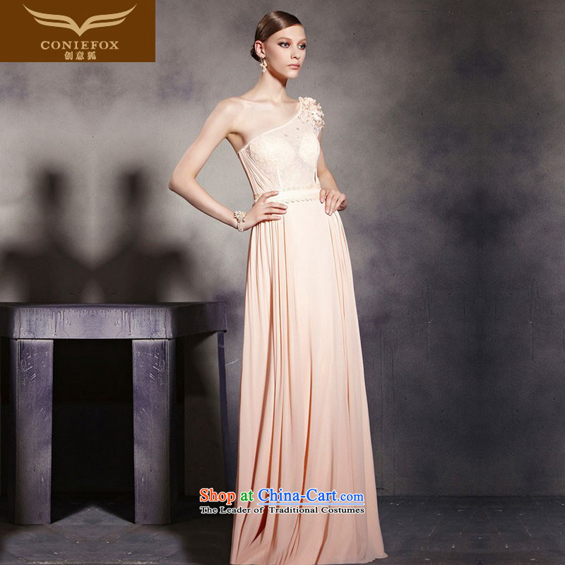 Creative Fox evening dresses pink shoulder banquet service to dress bows annual meeting under the auspices of dress elegant long bridesmaid dress Yingbin dress 30539 picture color�S