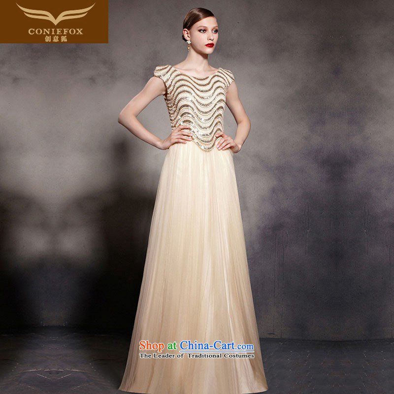 Creative Fox evening dresses gold on-chip to dress stylish evening dresses auspices performances dress noble banquet evening dresses long skirt 30553 color picture S