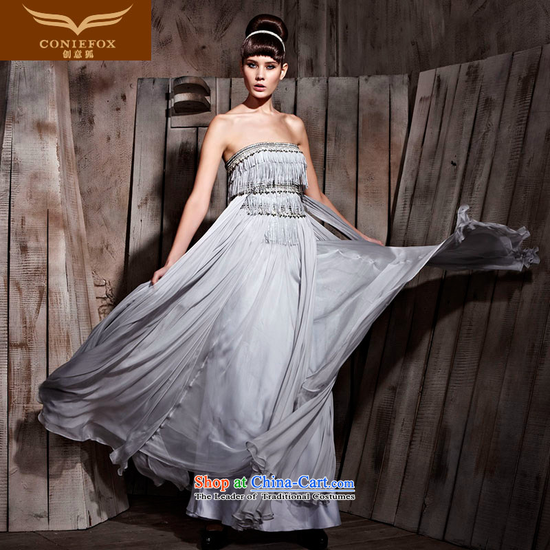 Creative fox gray dress wiping the chest edging dress Yingbin dress Vehicle Exhibition dress photo building model Photographic Dress Suit will preside over 81052 Gray�L