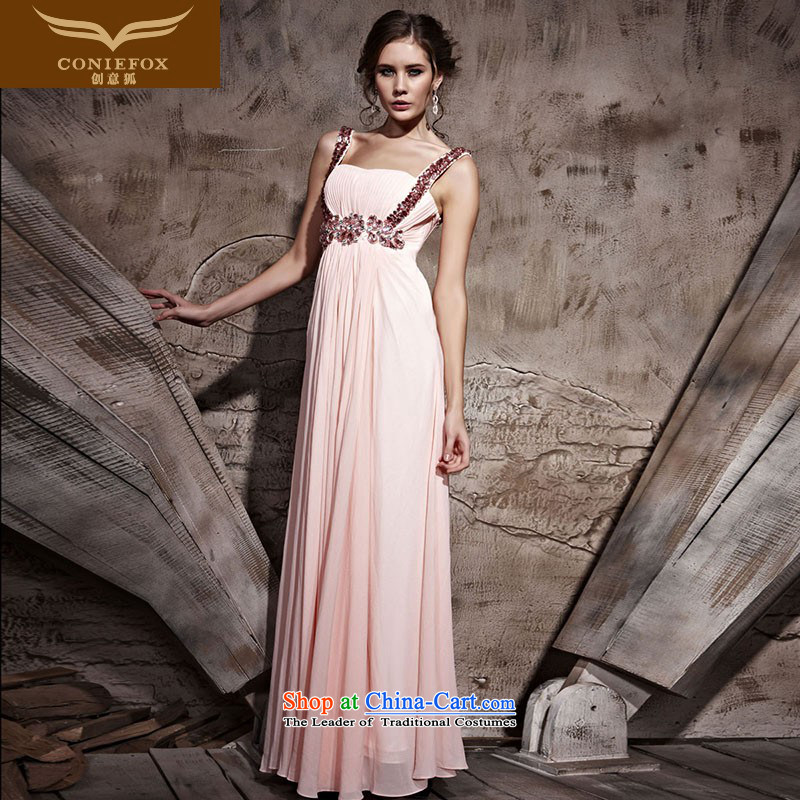 Creative Fox evening dresses pink shoulders bridal dresses bridesmaid service long skirt marriage bows services under the auspices of long dresses elegant hospitality services will 81058 pink S