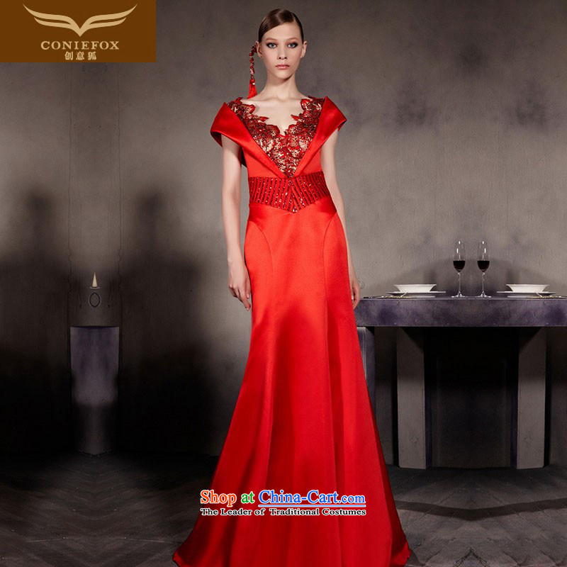 Creative Fox evening dresses red shoulders wedding dress bridal dresses Top Loin of slimming crowsfoot bows services deep V retro evening dresses long skirt 30566 color picture M