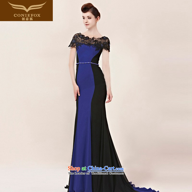 Creative Fox evening dresses sit back and relax the word lace shoulder dress long tail dress annual meeting presided over long skirt evening dress uniform 30016 color photo of bows�S