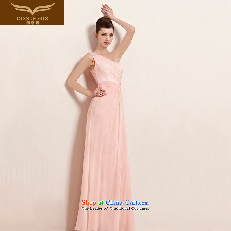 The kitsune elegant evening dress creative long pink dresses shoulder bride bridesmaid dress wedding dress annual meeting presided over a welcoming service dress long skirt 30023 color picture�S