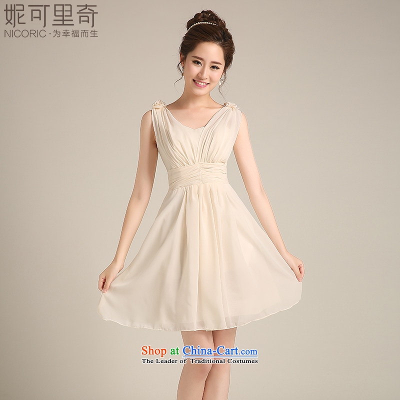 2015 WINTER new bridesmaid sister skirt small dress uniform Korean fashion and short of chest dress bridesmaid Service Bridal wedding dress bows services banquet dinner dress B L(7 days no reason to return)
