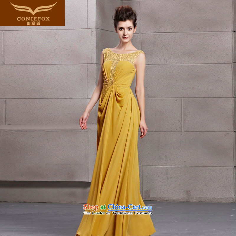 Creative Fox evening dresses yellow engraving noble banquet dinner dress shoulders long gown evening drink service     under the auspices of the annual dress long skirt 30083 picture color?S