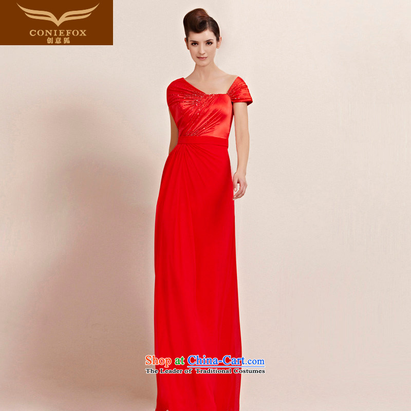 The kitsune dress creative personality grasp shoulder length of package wrinkle dress red dress video thin bride wedding dress evening drink service function to 30088 color picture�S