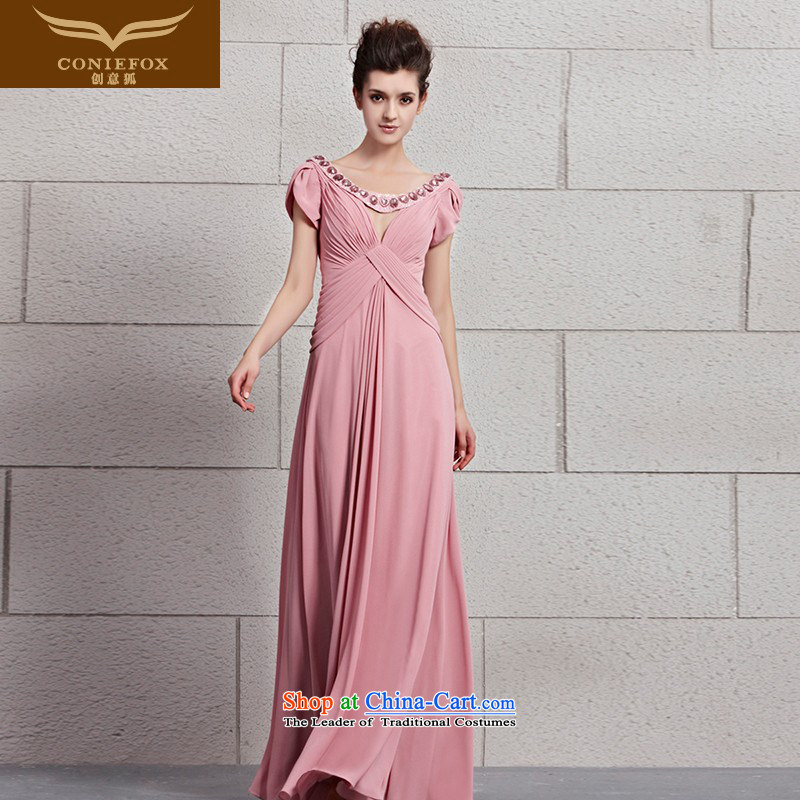Creative Fox evening dresses pink bride wedding dress bows service long package shoulder elegant dark V dress long skirt bridesmaid dress?30093?color pictures under the auspices of dress?XXL