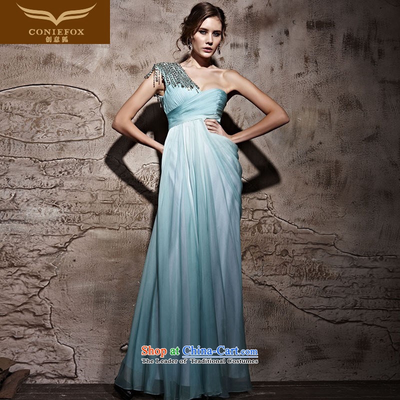 Creative Fox evening dresses shoulder banquet evening dresses and stylish long under the auspices of Sau San dress bride wedding services noble evening Welcome drink service 81066 green�XL