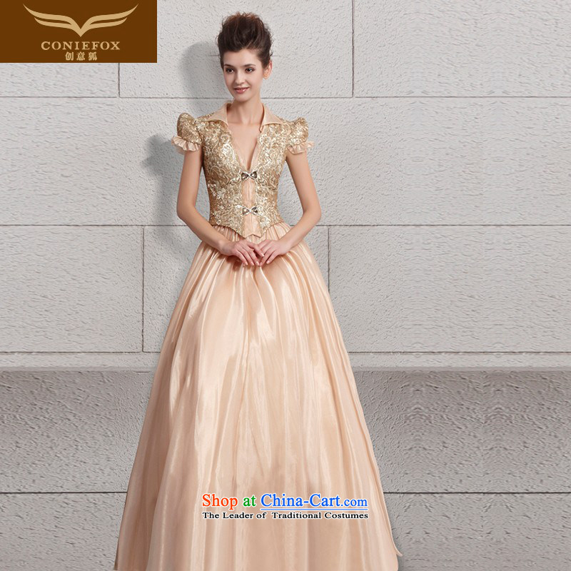 Creative Fox evening dresses gold on chip banquet evening dresses long bridesmaid dress bride wedding dresses, princess services welcome dress long skirt 30096 by color picture聽S
