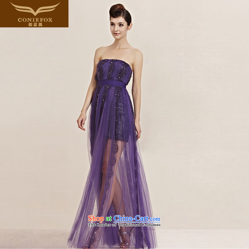 The kitsune dress creative new purple noble banquet evening dresses and chest long gown bridesmaid dress annual meeting of marriage under the auspices of 30098 color pictures show dress?XXL