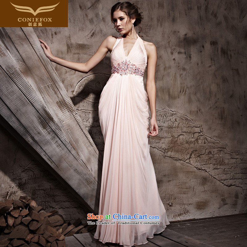 Creative Fox evening dresses pink wall also back bride wedding dress elegant slim, video beach skirt bridesmaid auspices dress performances dress 81092 pink?XL