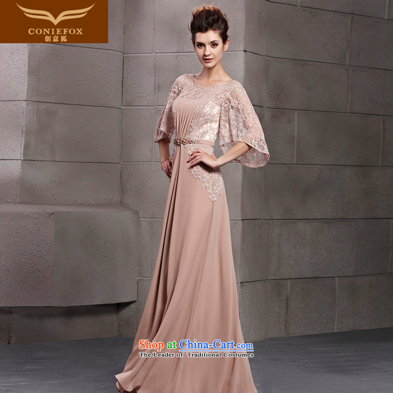 Creative Fox evening dresses�2015 new stylish large cuff banquet dinner dress lace dress events including dress bridesmaid Yingbin dress 30103 champagne color�XL