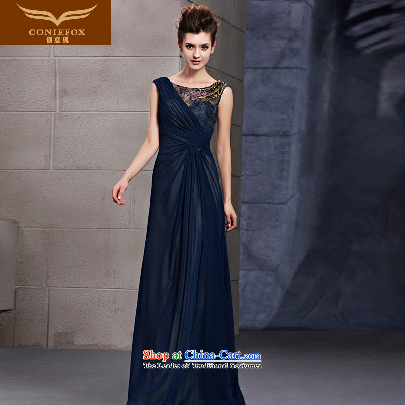 Creative Fox evening dresses new stylish banquet dinner dress blue evening drink service bridal wedding dresses annual meeting presided over a welcome dress 30106 color picture?S