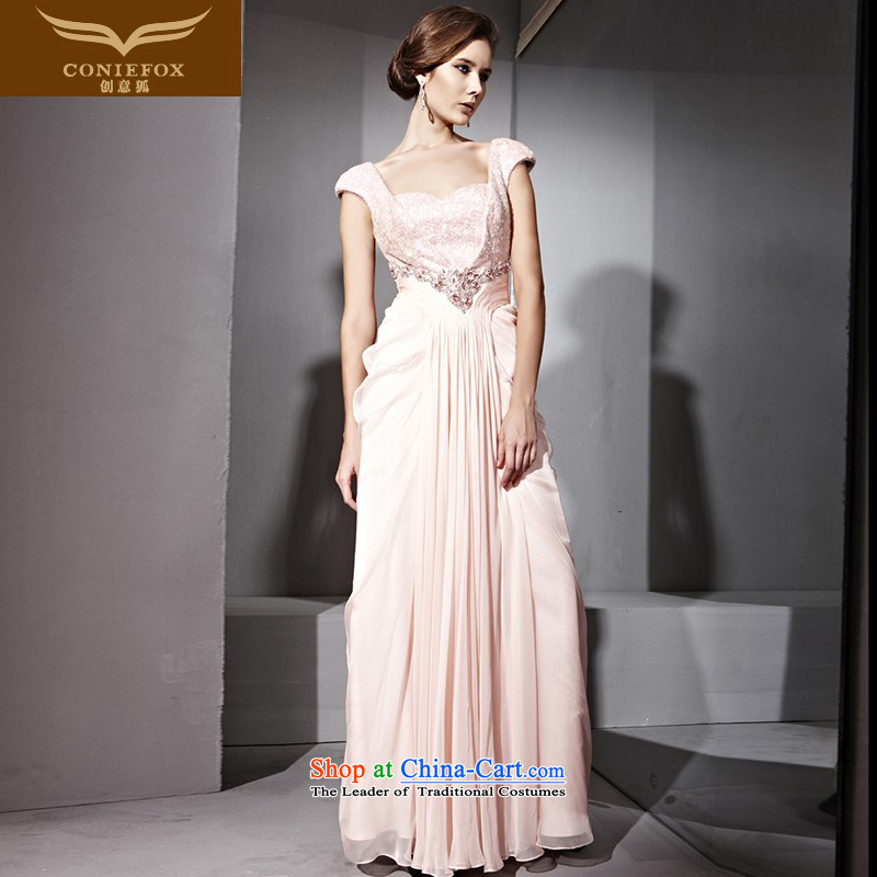 Creative Fox evening dresses pink dresses and stylish bride package shoulder on-chip beads dress ladies nail Princess Sau San long skirt long bridesmaid dress聽81093聽pink聽L