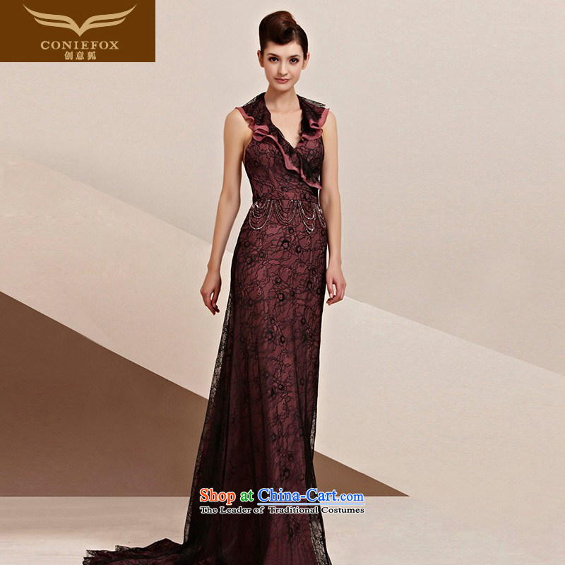 The kitsune elegant evening dress creative billowy flounces half dress red carpet tail dress bridal dresses and noble long) function performed under the auspices of 30116 color pictures dress?M
