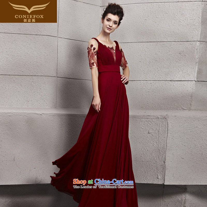 The kitsune dress creative new elegant-shoulders in evening dress cuff video thin red dress bride wedding dress evening drink service 30119 picture color?S