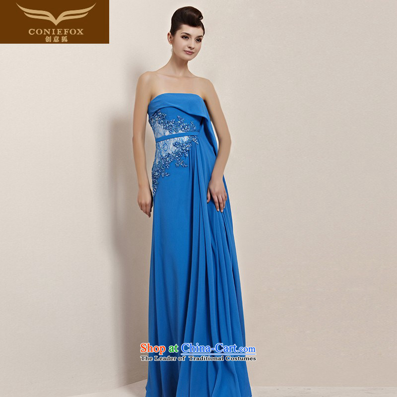 Creative Fox evening dresses and sexy dream blue spatula chest dress bridal dresses bridesmaid banquet hosted service long dresses bows concert service 30139 picture color?M