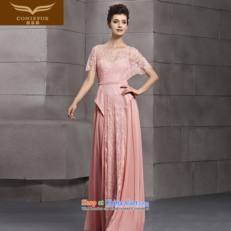Creative Fox evening dress pink lace video thin evening dresses bride wedding dress evening drink served long bridesmaid dress suit skirt?30151 under the auspices of?picture color?S