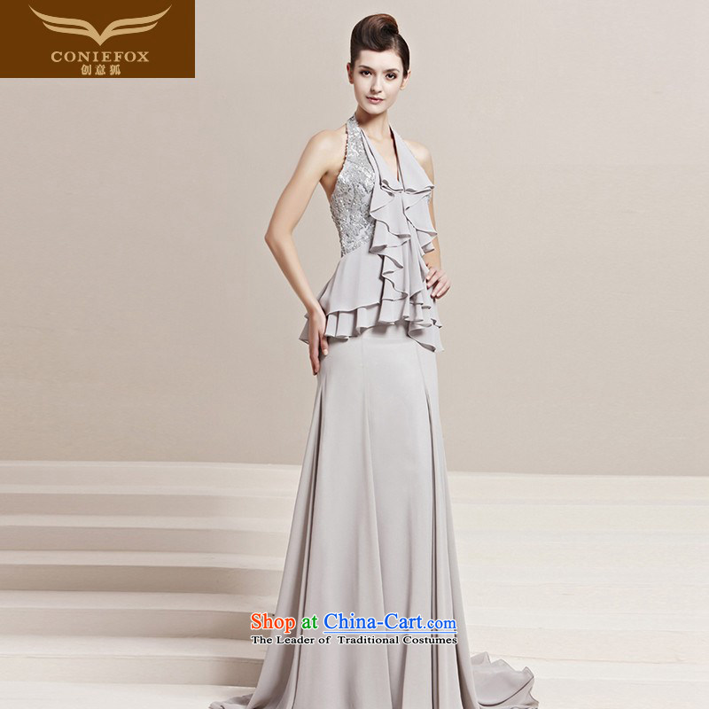 Creative Fox evening dress spring new stylish hang on chip dress bride also video thin dress bows dress elegant long gown?30158?color photo of the chairmanship of the?XL