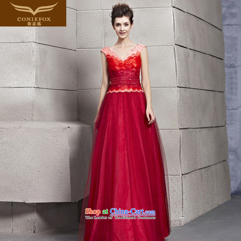 The kitsune dress creative new elegant evening dress graphics and slender gradient of dress red bride wedding dresses skirt bows dress 30160 marriage picture color�S