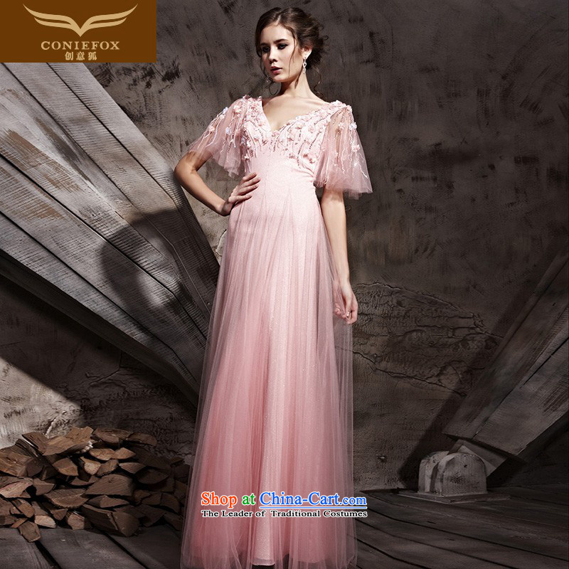 Creative Fox evening dresses retro bubble cuff wedding dresses toner color depth v bride wedding dress performances conducted long dresses dress 81109 pink?XL