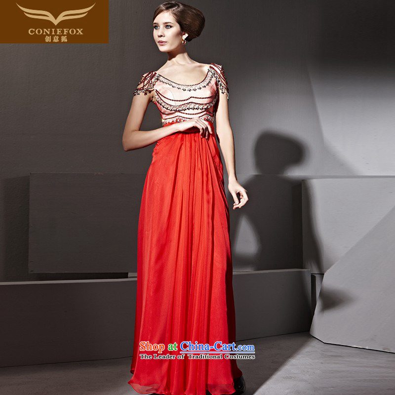 Creative Fox evening dresses red bride wedding dress banquet bows services video thin Foutune of evening dresses and long long skirt welcome dress 81113 Red聽S