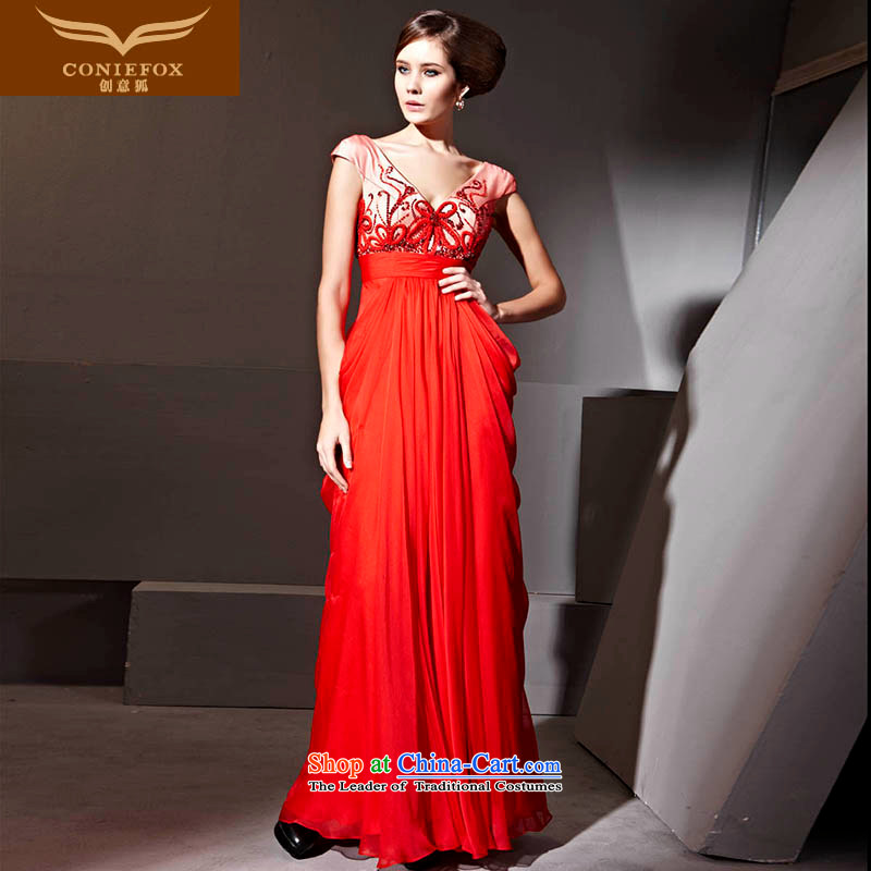 Creative Fox evening dresses red wedding dress Bridal Services festive evening dress bows and sexy deep V banquet hosted evening dresses dress 81135 Red聽XXL