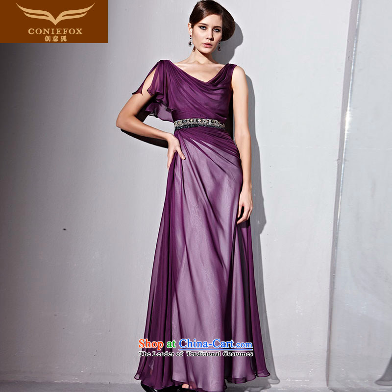 Creative Fox evening dresses purple elegant banquet dress long elegant evening dress long skirt red carpet dress events including dress 81153 purple聽S